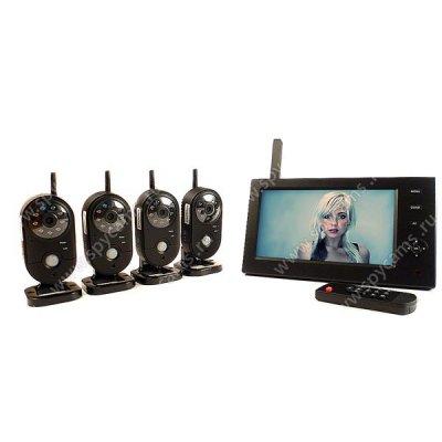 Беспроводной комплект видеонаблюдения на 4 внутренние камеры Квадро Home Автоном