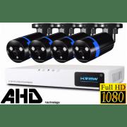 Проводной Full-HD комплект видеонаблюдения на 4 камеры H.View Pro 4CH AHD
