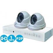 Проводной HD комплект видеонаблюдения на 2 купольные камеры IVUE Купол AHD 2CH