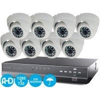 Проводной HD видеокомплект на 8 камер IVUE Купол AHD 8CH