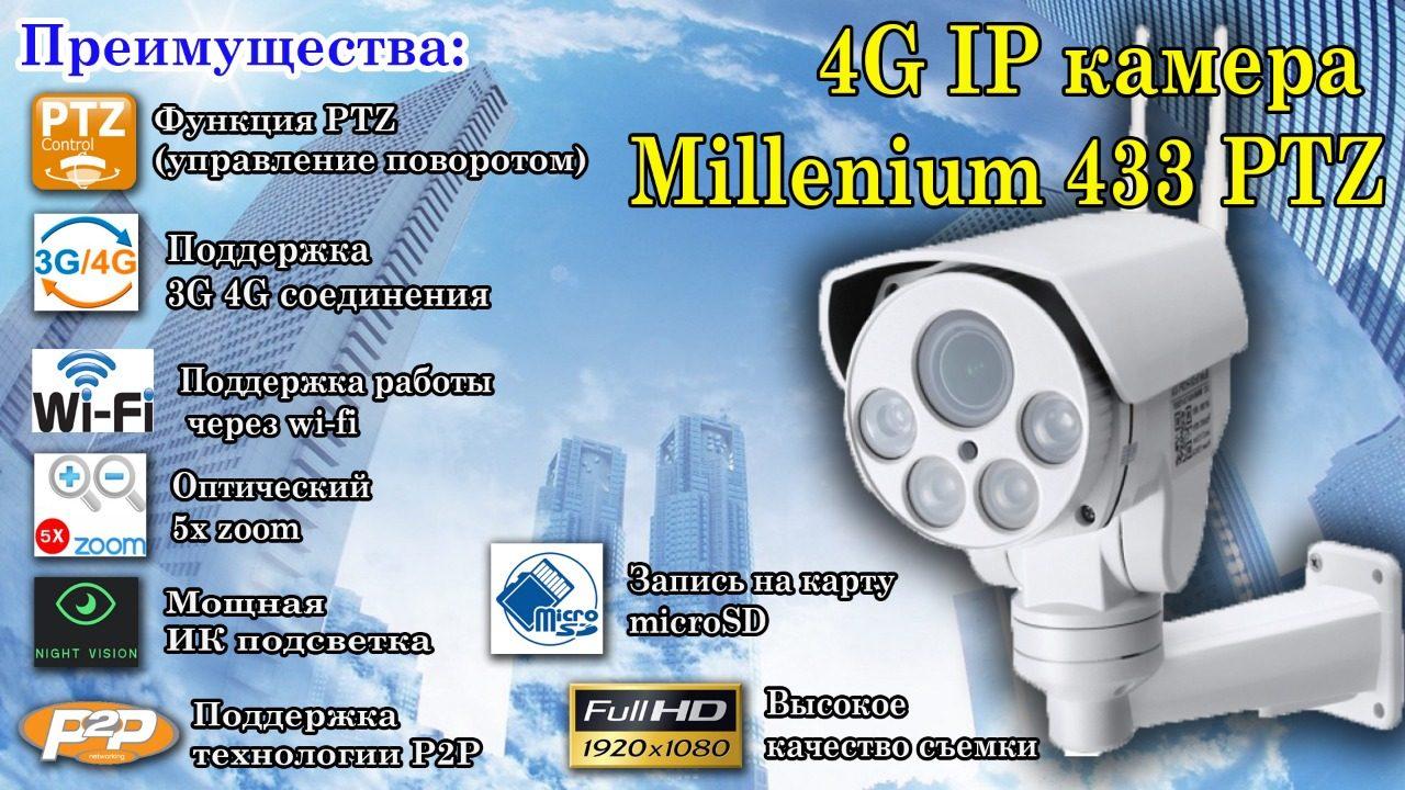 Уличная поворотная 3G 4G IP камера c 5х зумом и звуком Millenium 433 PTZ