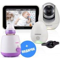 Цифровая Wi-Fi  видеоняня с вибро-часами и датчиком окружающей среды Samsung SEW-3057WP