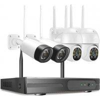 Цифровой беспроводной Wi-Fi комплект видеонаблюдения на 4 камеры со звуком Longse Combo PTZ 3Mp