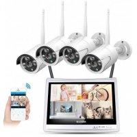 Цифровой wi-fi комплект видеонаблюдения на 4(8) камер со звуком MiCam LCD Street 3Mp