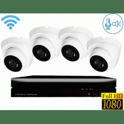 Беспроводной Wi-Fi комплект видеонаблюдения со звуком на 4 камеры Millenium Купол