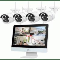 Беспроводной цифровой IP WiFi комплект видеонаблюдения на 4(8) камер со звуком Millenium LCD 2048