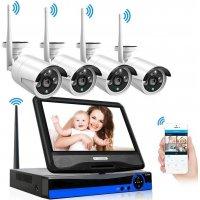 Беспроводной цифровой комплект видеонаблюдения на 4 HD камеры Millenium LCD IP 4CH