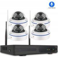 Цифровой комплект видеонаблюдения на 4 купольные Wi-Fi IP камеры со звуком Millenium Techcam Dome 4CH