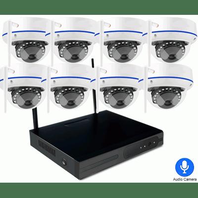 Цифровой комплект видеонаблюдения на 8 купольных Wi-Fi IP камеры со звуком Millenium Techcam Dome 8CH