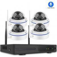 Цифровой купольный Wi-Fi IP комплект видеонаблюдения со звуком Techcam Dome audio