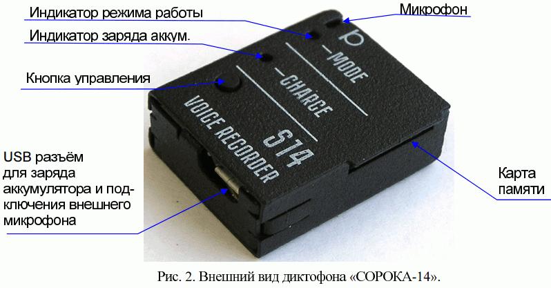 Цифровой мини диктофон c записью на карту памяти Сорока-14.1
