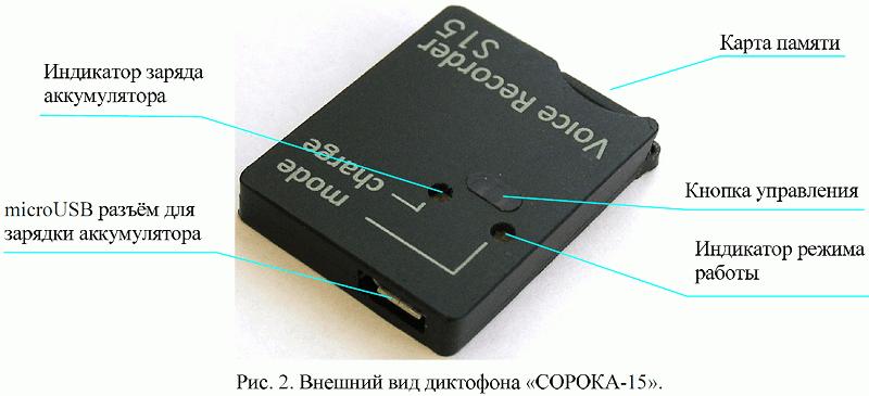 Цифровой скрытый мини диктофон Сорока-15.1 c записью на карту