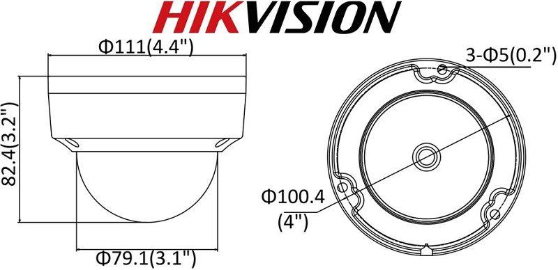 Купольная уличная IP камера 8Mp с POE питанием HIKVISION DS-2CD2183G0-IS