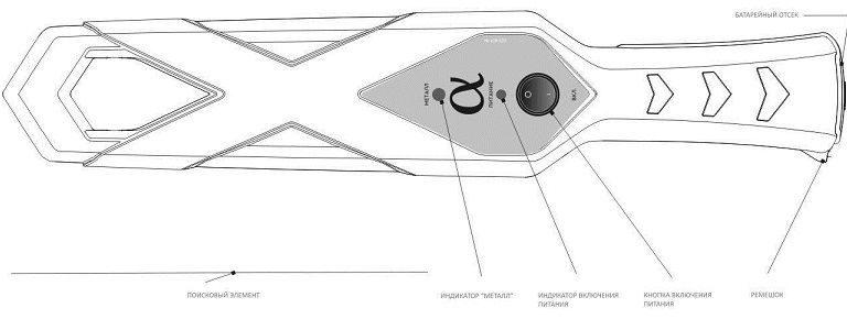 Ручной досмотровый металлодетектор Альфа-09
