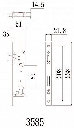 Врезной электронный карточный замок для узкопрофильных дверей Selock Slim